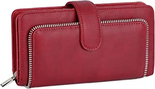 UTO Women PU Leather Wallet RFID Blocking Large Capacity 15 Card Slots Smartphone Holder Snap Closure Red