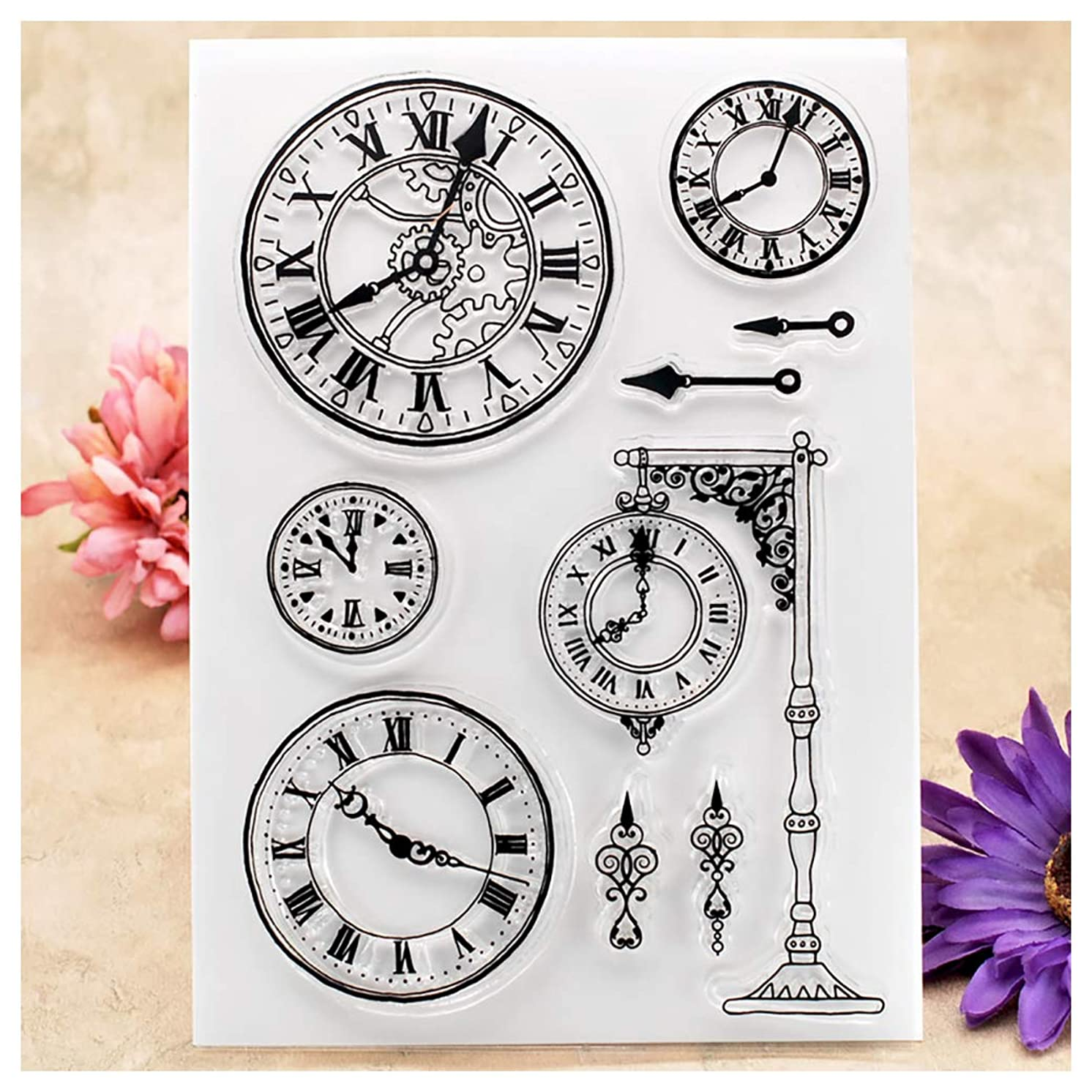 Kwan Crafts Clock Clear Stamps for Card Making Decoration and DIY Scrapbooking