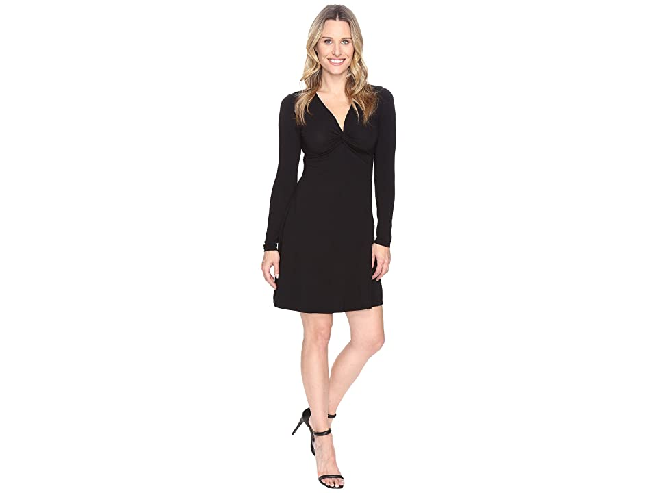 Mod-o-doc Cotton Modal Spandex Jersey Twist Front Empire Seamed Dress (Black) Women