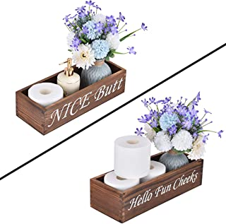 GICLAIN Nice Butt Bathroom Decor Box, Funny Wooden Toilet Paper Holder, Farmhouse Wood Crate Storage Bin or Diaper Organizer Perfect for Rustic Home Decor (Black Tea Color)