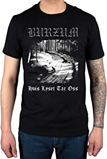 AWDIP Mens Official Burzum Hvis Lyset Tar OSS T-Shirt Album Music Hlidskjalf Metal Aske Black