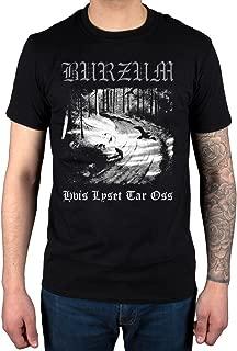 Mens Official Burzum Hvis Lyset Tar OSS T-Shirt Album Music Hlidskjalf Metal Aske