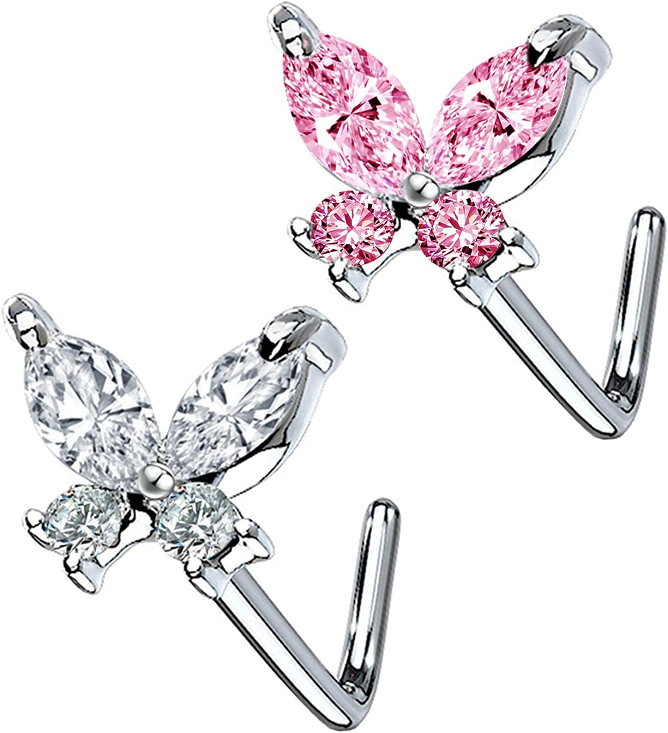 CHARM ONLINE CZ Butterfly Flower Top L Bend Stud Nose Ring 20G L Shaped Nose Studs Nose Hoop Rings Nose Body Piercing for Women Mens