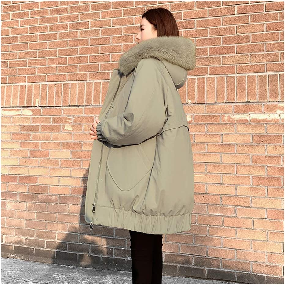 Women's Mid Length Down Jacket with Faux Fur Trim Hood Lightweight Packable Padding Coat Winter Coat (Color : Green, Size : Medium)