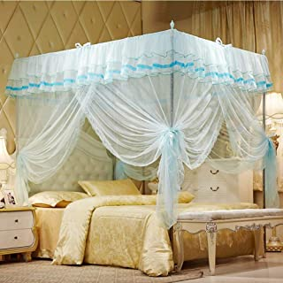"""Uozzi Bedding 4 Corners Post Turquoise Canopy Bed Curtain for Girls & Adults - Cute Cozy Drape Square Netting for Twin Bed - 4 Opening 45"""" W x 80"""" L Mosquito Net - Princess Bedroom Decoration"""