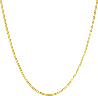 1.4mm Box Chain Necklace for Women and Men 24k Real Gold...