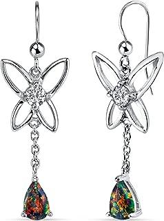 Created Black Opal Butterfly Drop Earrings Sterling Silver 1.00 Carats