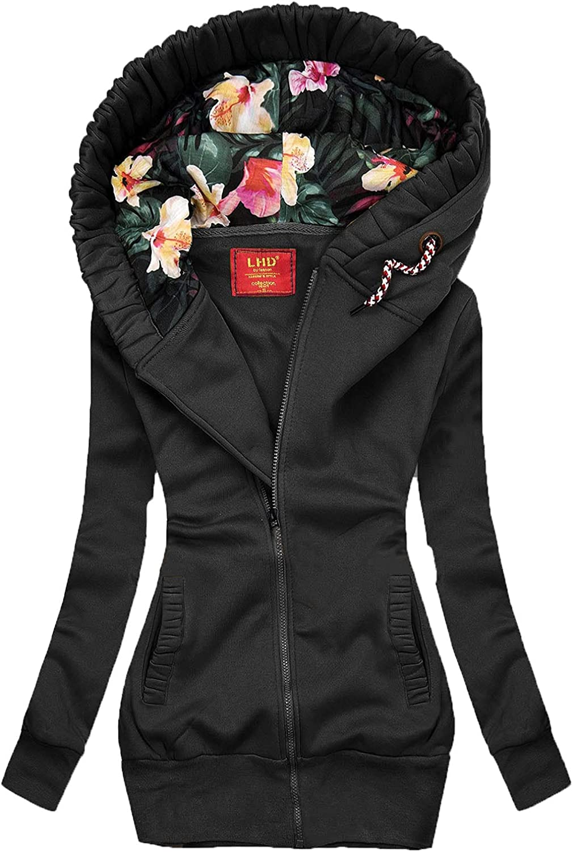 Women's Hooded Jacket Long Sleeve Solid Color Winter Outdoor Cardigen Softshell Jacket With Zipper Windbreak Warm Coat