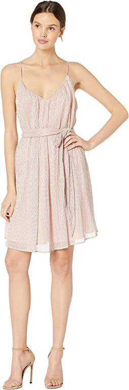 Tie Waist Pleated Swing Dress