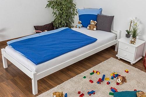Kinderbett   Jugendbett massives Kiefernholz, inklusive Lattenrost Weißlackiert - Ma  90 x 200cm