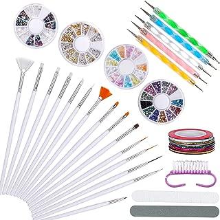 Nail Art Brush Set Polish Decorations Tool Kit Include painted brush pen,Nail Dotting Pen, Striping Tape Line,Nail polishing strip,Nail art Cleaning Brush,Colorful Rhinestones kit,Nail stamping kit
