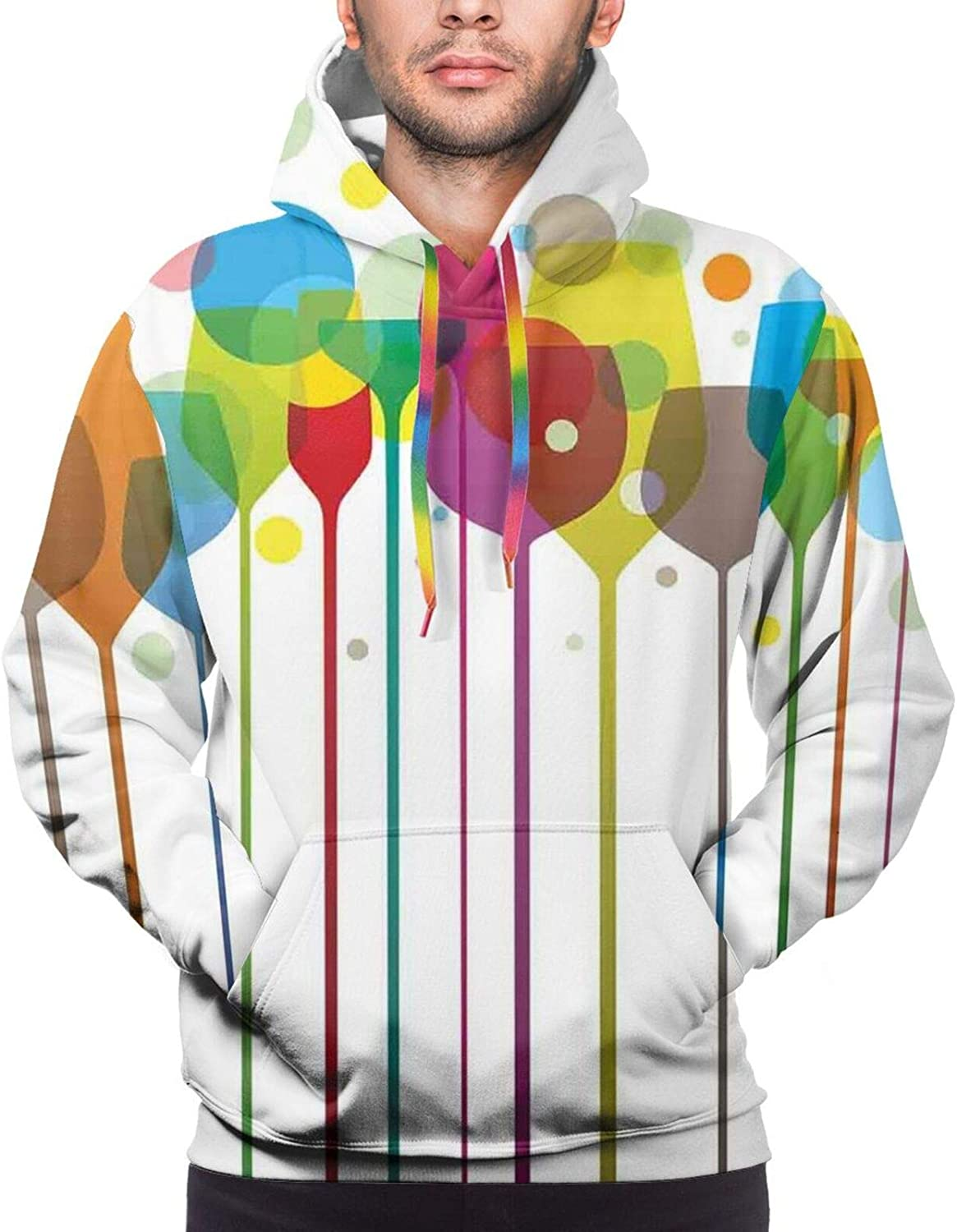TENJONE Men's Hoodies Sweatshirts,Colorful Stripes with Sunflowers and Wheat Farm House Themed Abstract Image