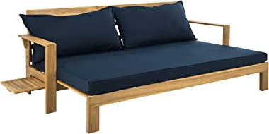 Safavieh PAT6748B Outdoor Collection Hammett Teak Double Sun Lounger with Pullout Table Lounge Chair, Natural/Navy
