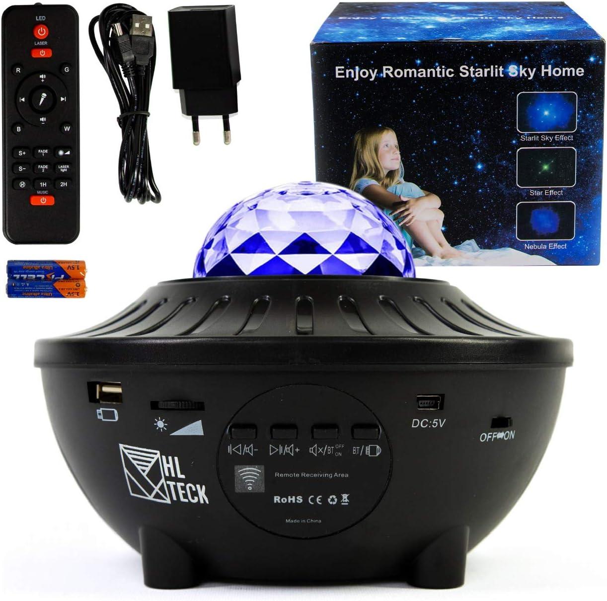 Projecteur Ciel Étoilé avec Enceinte Bluetooth, Veilleuse Musicale et Lumineuse, Lampe Galaxie à LED Couleurs
