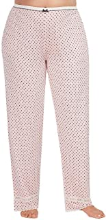 Women's Plus Size Lace-Trimmed Dotted Jersey Sleep Pajama Pants