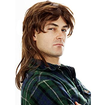 80s Rock Mullet Redneck Long Blonde Men Costume Wig