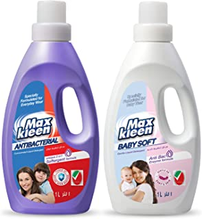 Maxkleen 1L Twin Pack AntiBacterial Liquid Detergent with 2in 1 Softergent Formula and Baby Soft AntiBacterial and Gentle ...