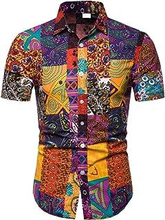 EMAOR Mens Stylish Floral Long Sleeve Shirt & Short Sleeve Shirt