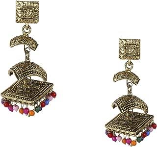 Antique Gold 3 Layered Jhumka Earrings (SJ_978)