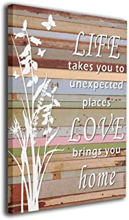 CLLAISUHOME Life Takes You to Unexpected Places Love Brings You Home Canvas Wall Art Modern Framed Canvas Art Prints Ready to Hang for Living Room Bedroom Home Decorations 1620 Inches