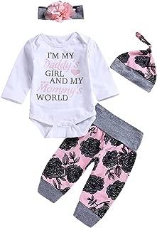 4PCS Infant Baby Girl Floral Outfits Set Romper + Pants + Hat + Flower Headband