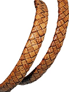 cords craft 10x4mm Flat Braided Genuine Leather Cord, Tan, Color, Piece of 1 Meter for making Bracelet & Jewelry