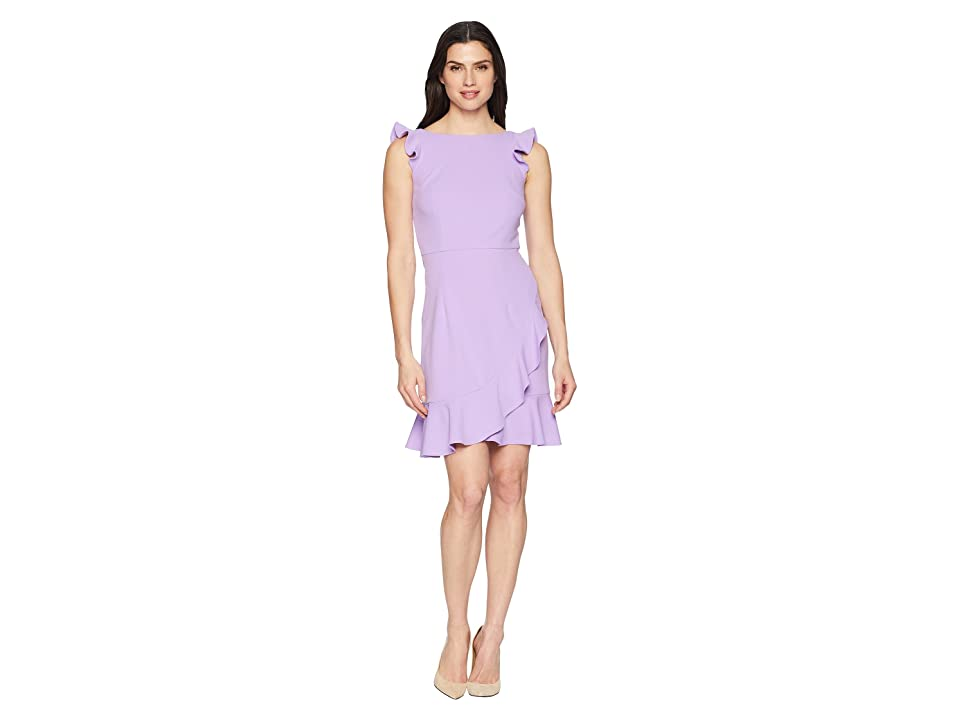 Donna Morgan Crepe Dress with Ruffle Skirt (Lavender) Women
