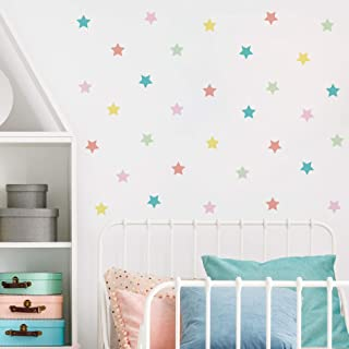 """Stars Wall Decals 54 pcs Peel and Stick 2x2"""" Sweet Pastel Colors - Rooms and Stickers"""