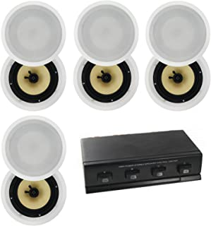 8 x 6.5inch Selby in Ceiling Synthetic Fibre Speakers Plus 4-Way Speaker Switch CS608 A1006