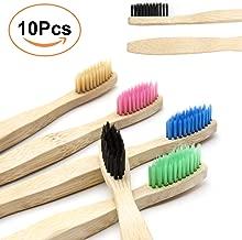 Cepillo de Dientes de Carbón de Bambú 10 PAQUETE - 5 Colores Cerdas Suaves Naturales de Cepillo de Dientes de Bambú - Cepillo de Dientes de Bambú Ecológico Biodegradable para Uso Familiar