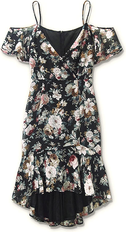 Women Plus Size Dress Cold Shoulder Floral Bohemian Split Dress V-Neck Dress