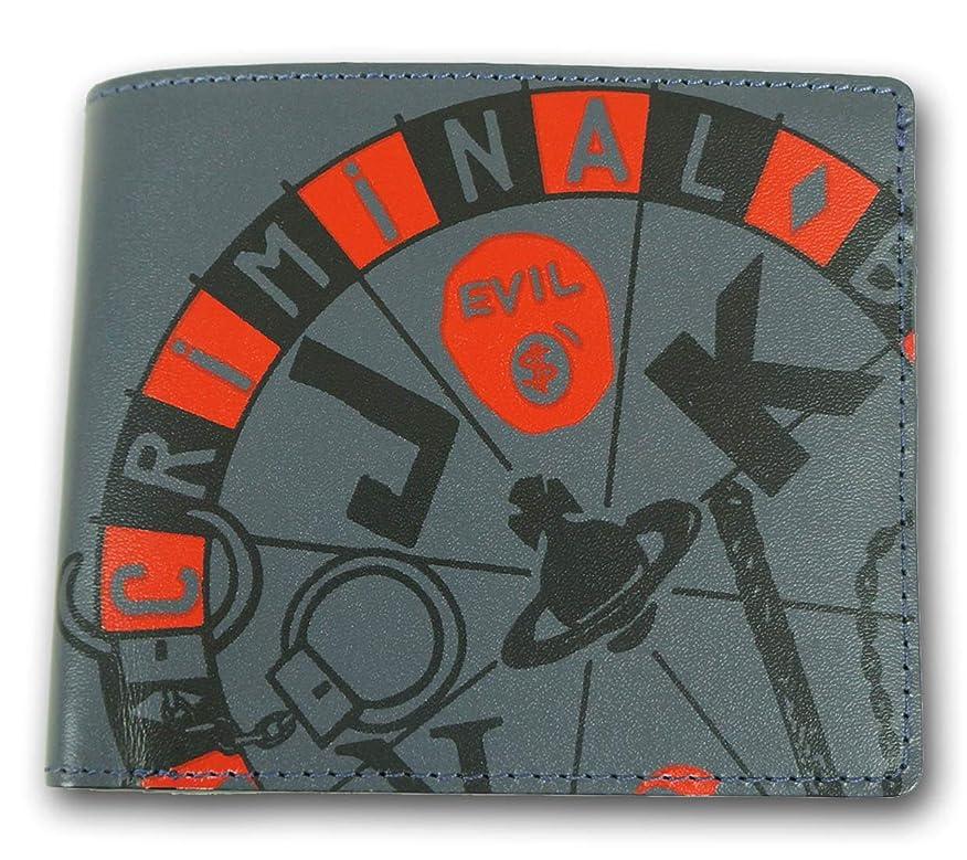 加速度武装解除金曜日(ヴィヴィアンウエストウッド) Vivienne Westwood 牛革 ジョーカールーレット 二つ折り財布 メンズ グレー系
