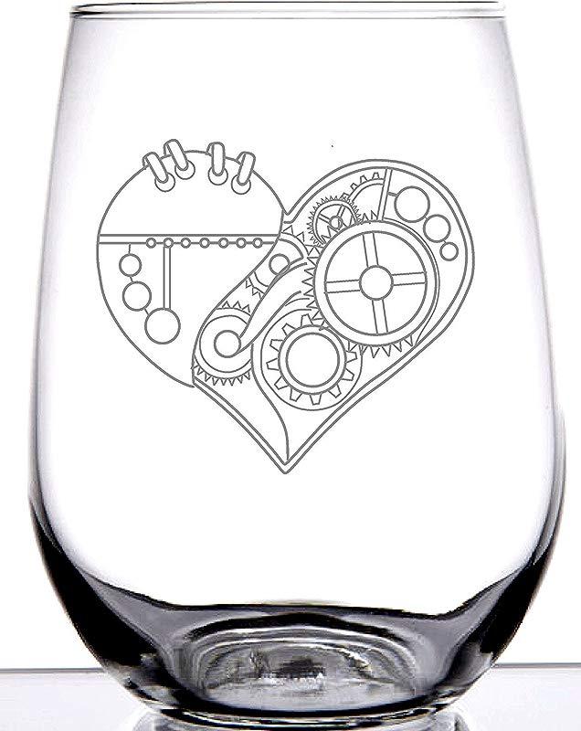 IE Laserware Steampunk Heart On 17oz Stemless Wineglass