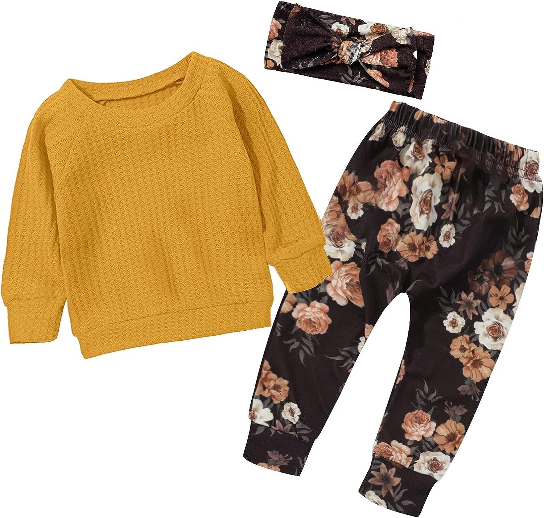 KANGKANG Toddler Girl Clothes Winter Baby Girls Clothes Long Sleeve Sweater Floral Pants Toddler Girl Winter Clothes