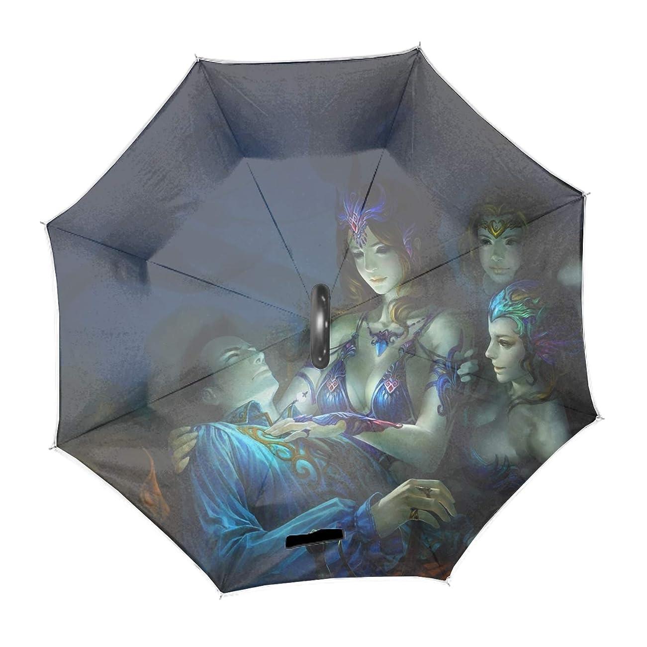 フラフープに対してトラフ反転逆車の雨可逆傘は、ファッション防水傘を反転した創造的な革新的な屋外ゴルフスポーツ風防ファンタジー愛WoMen Artistic