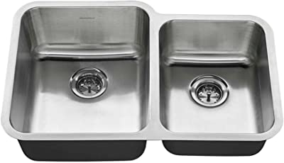 American Standard 18CR.9312000T.075 Undermount 31x20 Offset Double Bowl Sink, Stainless Steel