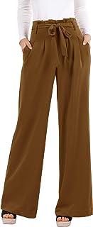 Geckatte Womens Palazzo Wide Leg Pants High Waist Casual Loose Flowy Pants with Belt