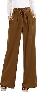 Womens Palazzo Wide Leg Pants High Waist Casual Loose Flowy Pants with Belt
