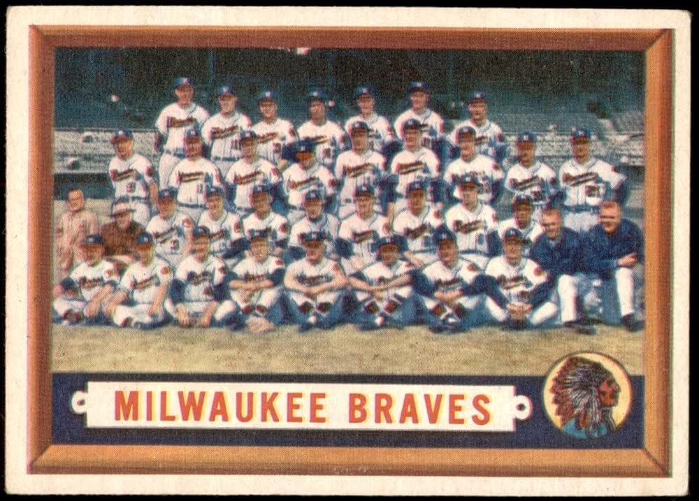 1957 Topps # 114 Max 40% OFF Cheap Sale 88% OFF Braves VG Card Milwaukee Team Baseball