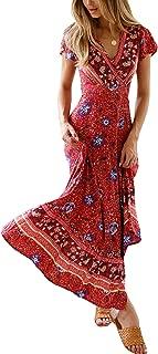 I-Fox Bohemian Printed Beach Long Dress Maxi Skirt Summer Sundress