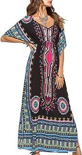 ad834d4e682 Landove Caftan de Plage Long Femme Été Maxi Robe Ethnique Grande Taille