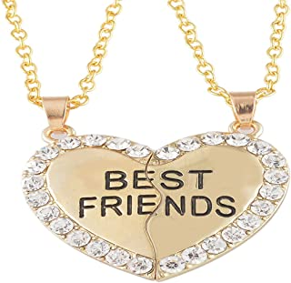 2 Pcs Best Friends Engraved Necklace with Broken Heart Charm Pendant Set BFF Friendship Necklace