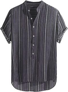 JJLIKER Hawaiian Shirts for Men Short Sleeve Regular Fit Striped Floral Shirts Summer Tees Tops with Pockets