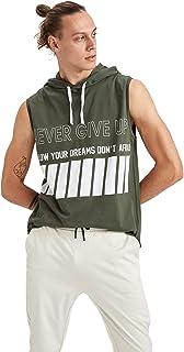 DeFacto Heren Slim F¡t korte mouwen gebreide atletenhemden voor mannen, mouwloos T-shirt