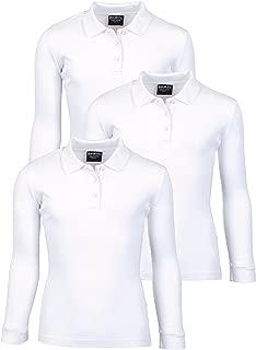 Girls Long Sleeve School Uniform Knit Polo Shirts (3 Pack)