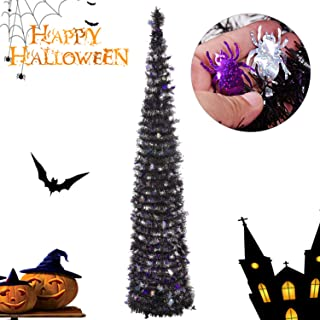 Joy&Leo 5 Foot Halloween Spider Sequin Pop Up Black Tinsel Christmas Tree, Easy to Assemble and Store, for Small Spaces Apartment Fireplace Party Home Office Store Classroom Halloween Decorations