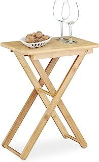 Relaxdays Plegable Mesa Auxiliar, Madera de bambú, pequeño Plegable Mesa de TV, Rectangular, HxWxD: ca, 52x 40x 31cm, N...