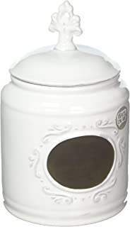 Home Essentials Ceramic Round Chalkboard Medallion Canister Jars with Tight Lids for Kitchen or Bathroom, Food Storage Containers, 84 OZ, White