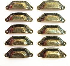 DFHM 10x Vintage Schelpgrepen Kastdeurgrepen Ladekast Handgrepen Ijzeren Meubelknopen Set 98x33mm Brons