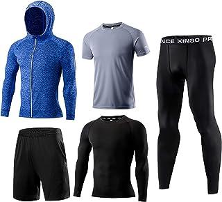 5-Piece Men's Compression Pants Shirt Top Long Sleeve Jacket Suit Set,Sport Clothes for Men Lightweight, Comfortable